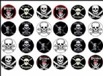 24 x Pirates Skull Crossbones Wafer  Rice Cake Toppers